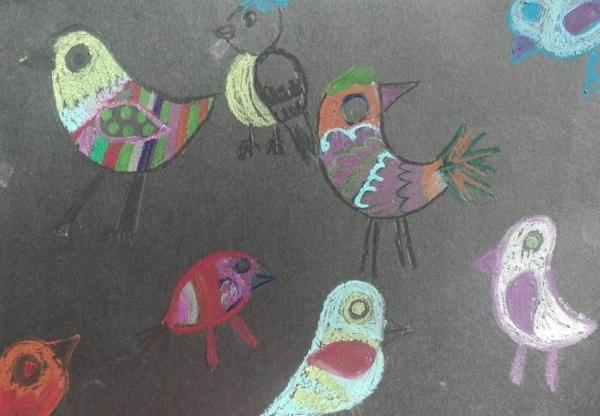 Kolorowe ptaki.